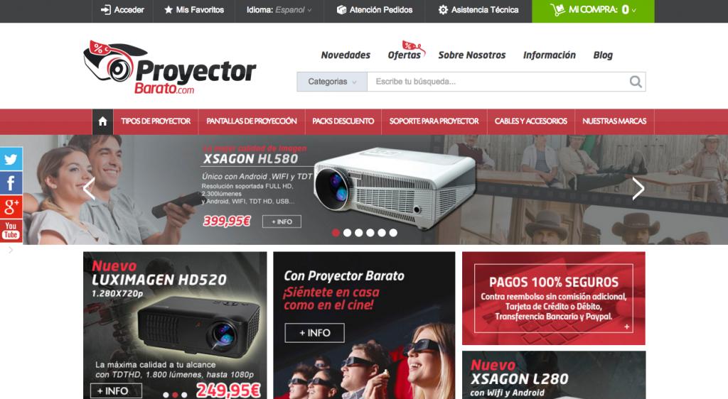Diseño renovado de la nueva web de proyectorbarato.com adaptado a las nuevas tecnologías.