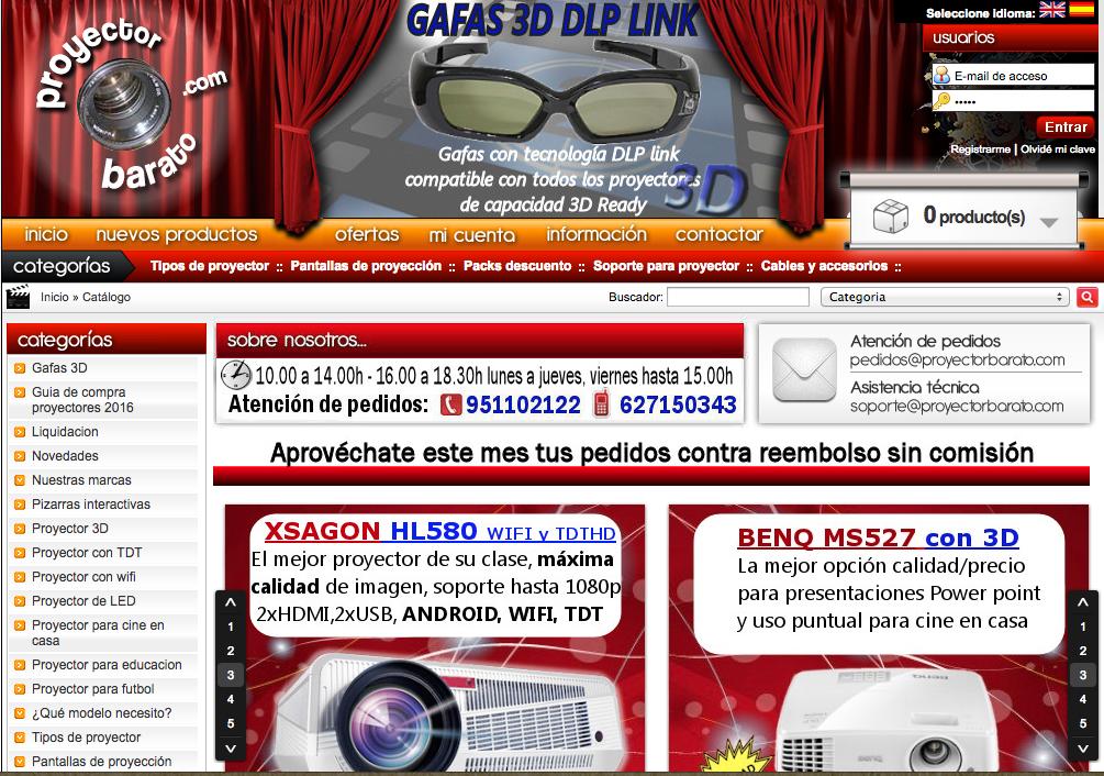 Captura de pantalla de la antigua web de proyectorbarato.com ofrecida desde 2005 hasta 2016
