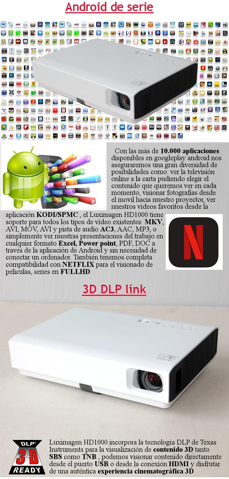 Proyector barato compatible con MKV, AC3, AVI, DIVX, XVID, MPEG