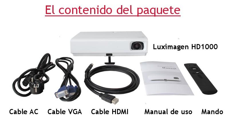 el proyector incluye: cable HDMI, vga, av, manual de usuario
