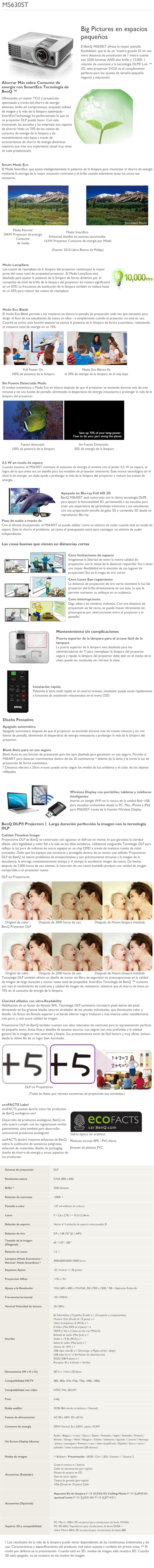 proyector benq ms630st