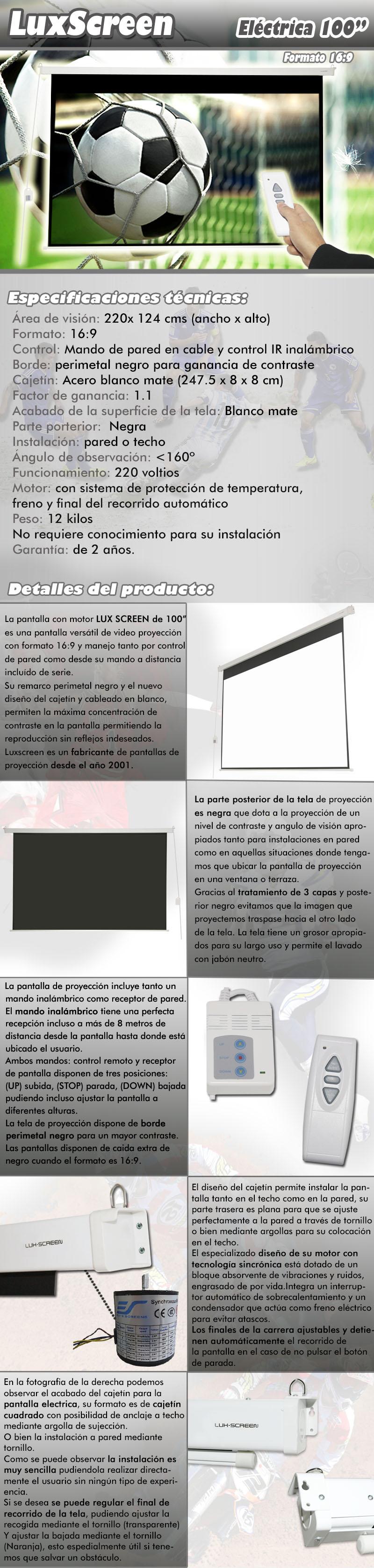 pantalla electrica de 100 pulgadas 16:9, dispone de parte trasera negra, borde perimetal negro para una mayor concentracion de contraste, ganancia de brillo 1:1, ideal para proyectores formato full hd y hd