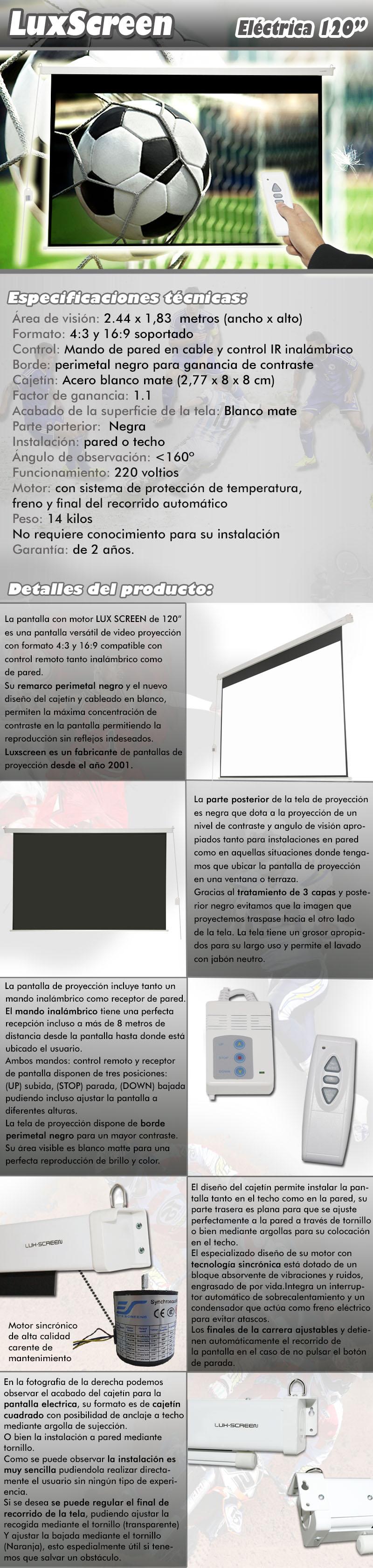 pantalla electrica de 120 pulgadas 2,44 x 1,83 metros, dispone de parte trasera negra, borde perimetal negro para una mayor concentracion de contraste, ganancia de brillo 1:1, ideal para proyectores formato full hd y hd