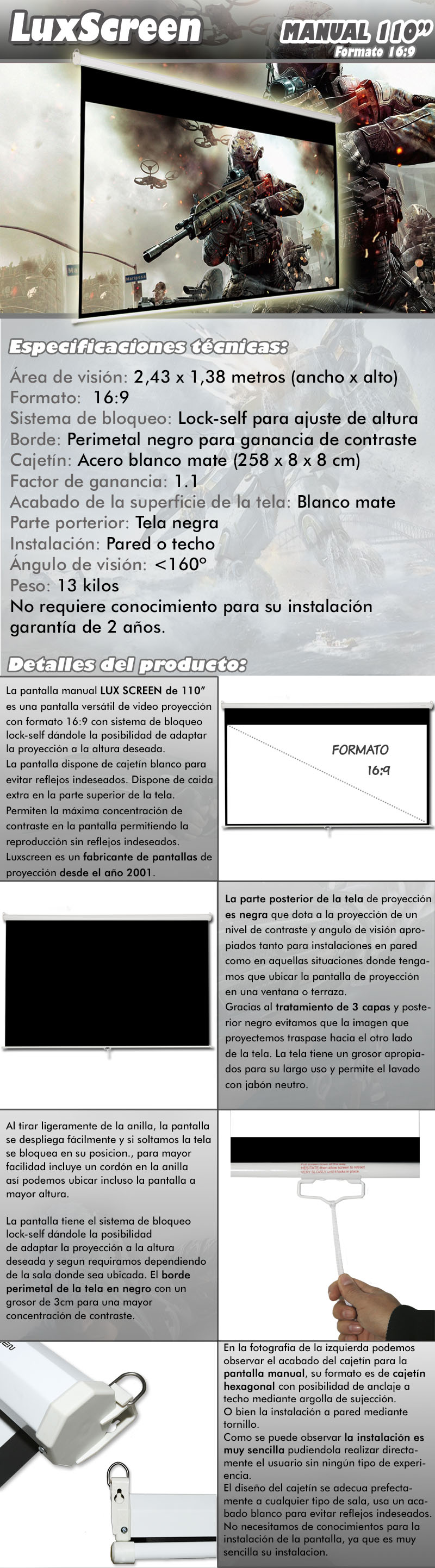 pantalla de proyeccion manual de 110
