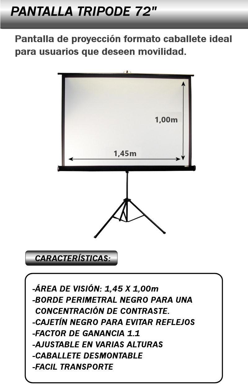 pantalla de proyeccion tripode de 72 pulgadas