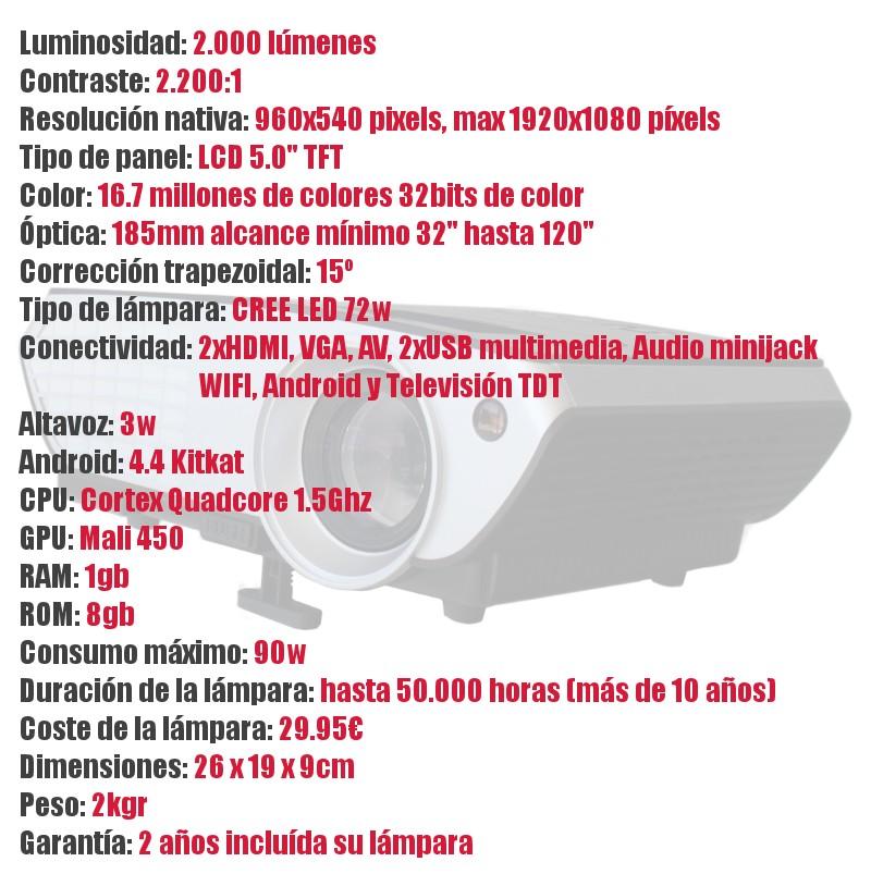 luminosidad 2000 lumenes, contraste 2.200:1, resolucion nativa 960x540 pixels, doble hdmi, doble usb, vga, av, android kitkat, 1gb de ram