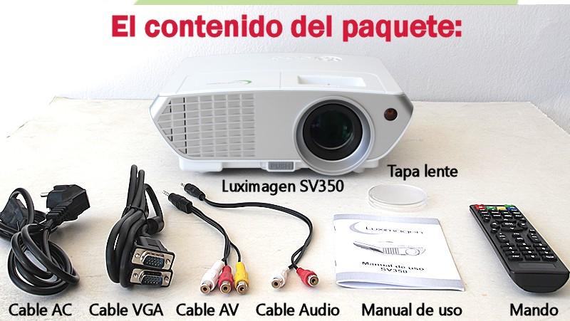 el paquete incluye: proyector Luixmagen SV350, cableado de video, cableado de corriente, mando a distancia y manual de usuario en castellano