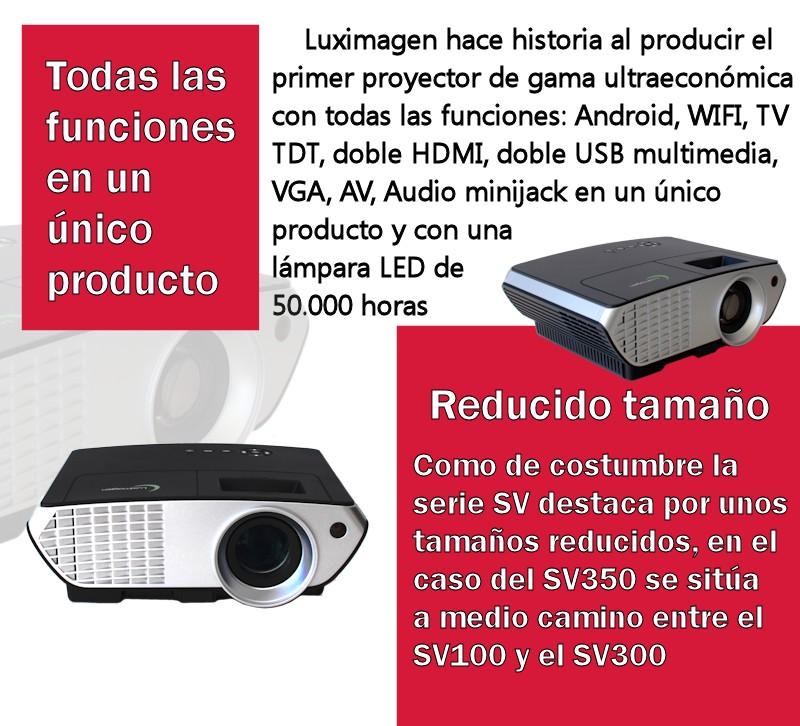 Luximagen hace historia al producir el primer proyector de gama ultraeconomica con todas las funciones: android, wifi, tv tdt, doble hdmi, doble usb multimedia, vga, av, audio minijack en un unico producto y con una lampara led de 50.000 horas