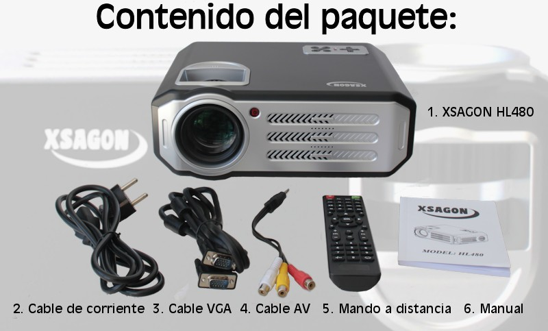 El paquete incluye proyector Xsagon HL480, cable de video, cable de audio, cable de corriente, mando a distancia y manual de usuario en castellano e ingles