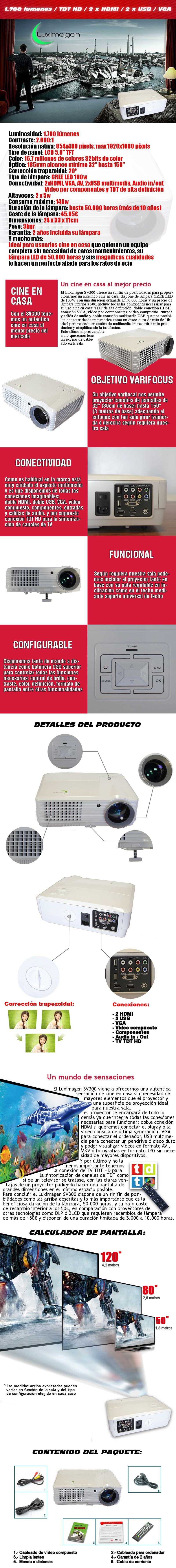 proyector luximagen sv300 con tdt incluido