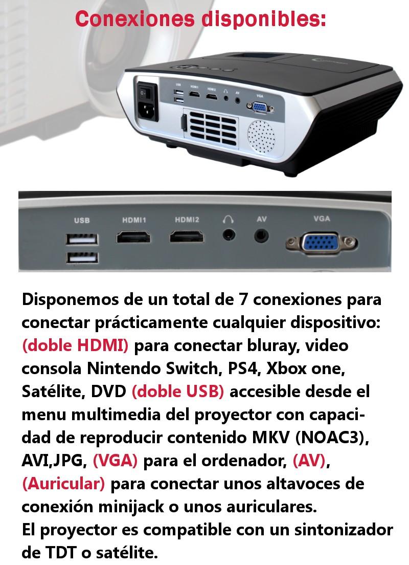 Disponemos de un total de 8 conexiones para conectar practicamente cualquier dispositivo, doble HDMI para bluray, video consolas, dvd, bluray, doble USB para el uso en el android incluido en el proyector con capacidad de reproducir contenido AC3, MKV, AVI, JPG, vga para el ordenador, av y auricular para conectar unos altavoces