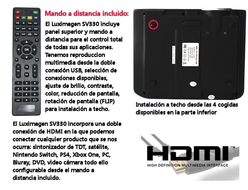 Repasemos... el proyector Luximagen SV330 tiene doble HDMI, doble USB, conexion VGA, AV, proyecta en formato panoramico, y ademas tiene la posibilidad de intercambiar su lampara de led