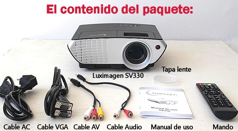 el paquete incluye: proyector Luixmagen SV330, cableado de video, cableado de corriente, mando a distancia y manual de usuario en castellano
