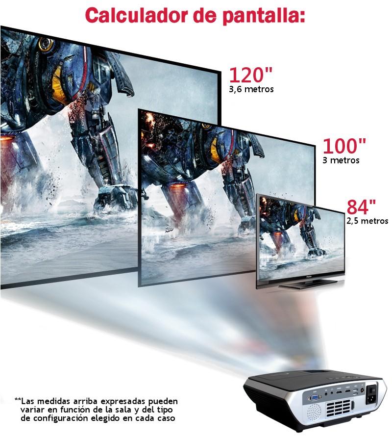 el proyector hace un tamaño de pantalla de hasta 120 pulgadas
