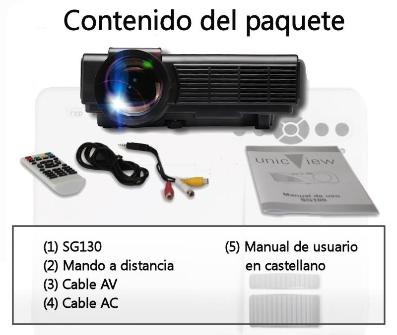 el paquete incluye: proyector unicview sg130, cableado de video, cableado de corriente, mando a distancia y manual de usuario en castellano