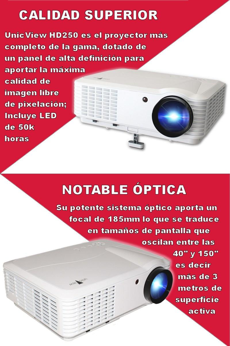 unicview ofrece todo lo que necesita un buen proyector, grandes horas de diversion, lampara led de larga duracion, videoproyector de alta definicion