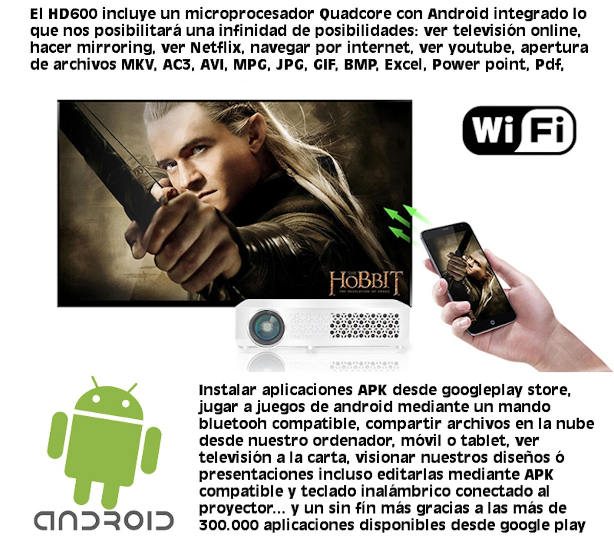 el HD600 incluye un microprocesador quadcore con android integrado lo que nos posibilitará infinidad de posibilidades: ver la television online, hacer mirroring, ver netflix, navegar por internet, ver youtube, apertura de archivos, mkv, ac3, avi, mpg, jpg, gif, bmp, excel, power point, pdf