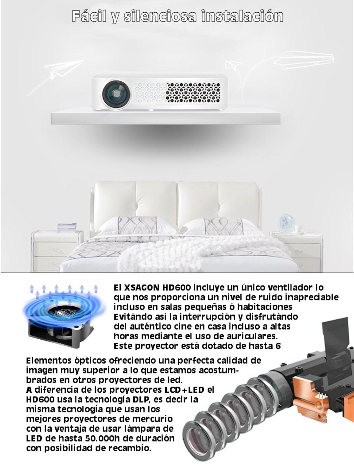 el xsagon hd600 incluye un unico ventilador lo que nos proporciona un nivel de ruido inapreciable incluyo en salas pequeñas y habitaciones. Evitando asi la interrupcion y disfrutando del autentico cine en casa incluso a altas horas mediante el uso de auriculares.