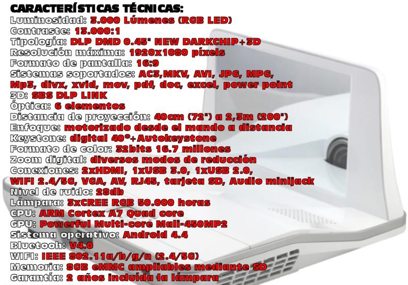 el xsagon hd800 destaca por ser un proyector de ultra corta distancia de tecnología led