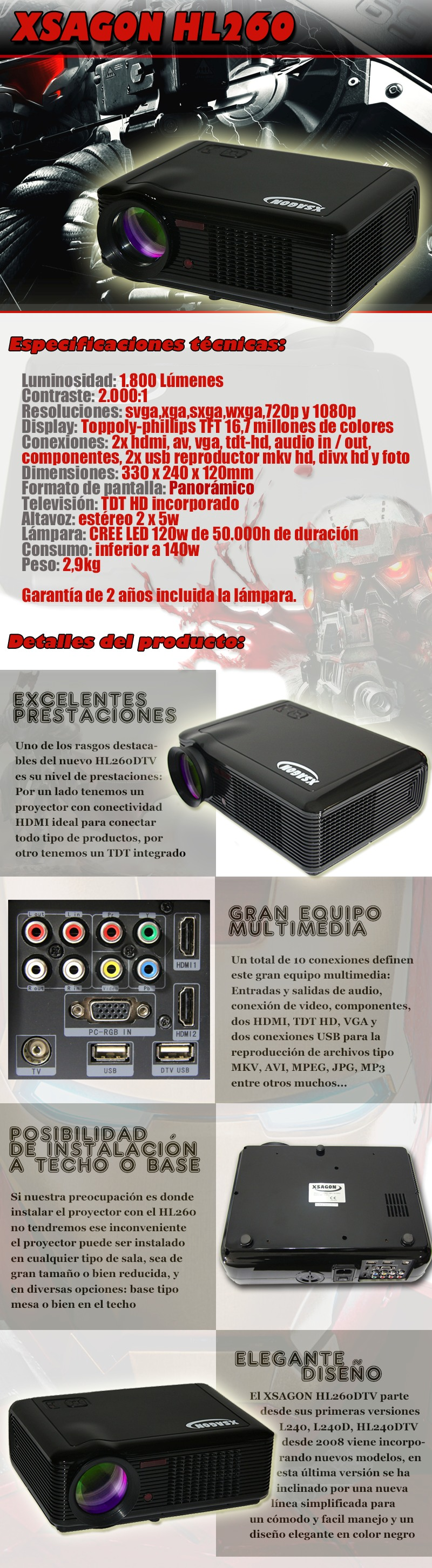 led projector with dvbt hd, 1080p resolution support, hdmi, vga, usb, led lamp