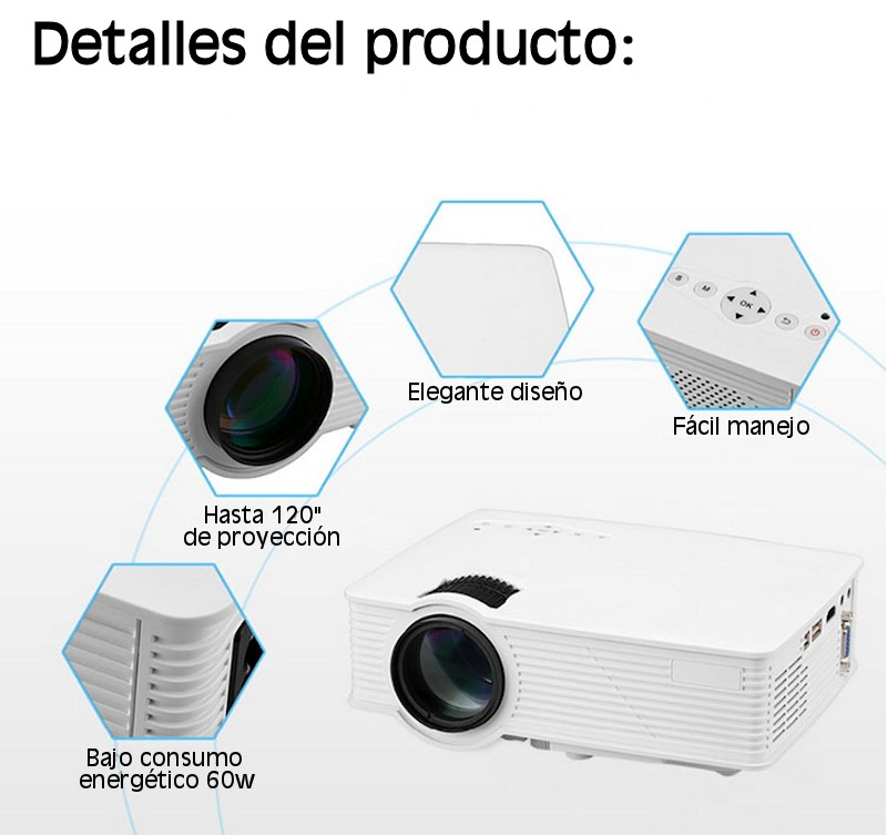 Proyector compatible con PS4, Nintendo Switch, Xbox one, ordenador, bluray, decodificador de satélite...