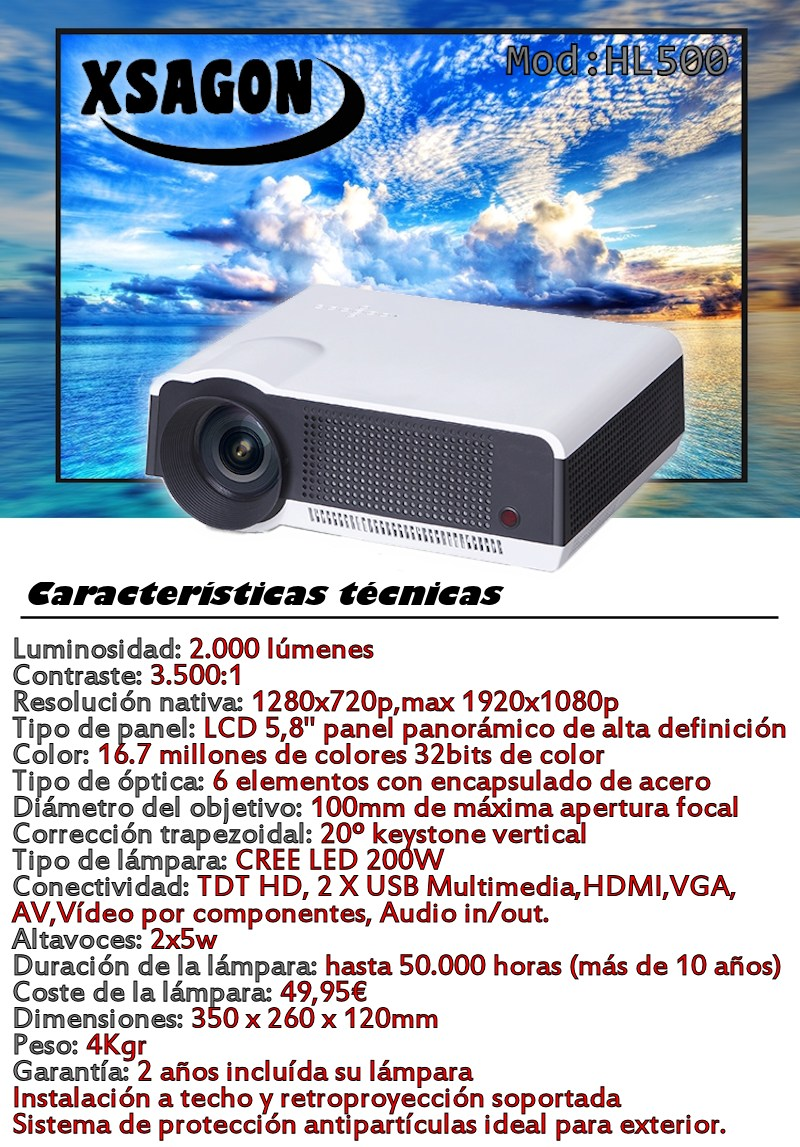 luminosidad: 2.000 lumenes, contraste: 3.500:1, resolucion nativa 1280x720 pixels maxima 1920x1080p fullhd, lampara led 200w, conexiones 2 HDMI, 2 x USB, TDT de alta definición, led de 50.000 horas