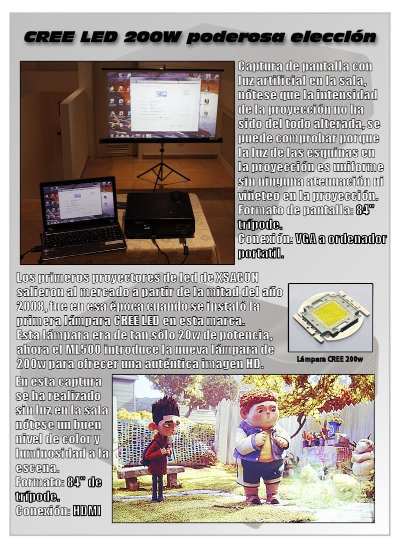 los primeros proyectores de led de xsagon salieron al mercado a partir de la primera mitad del año 2008, fue en esa epoca cuando se instalo la primera lampara CREE led de la marca. El HL500 introduce una nueva lámpara de 200w para ofrecer una autentica imagen HD.