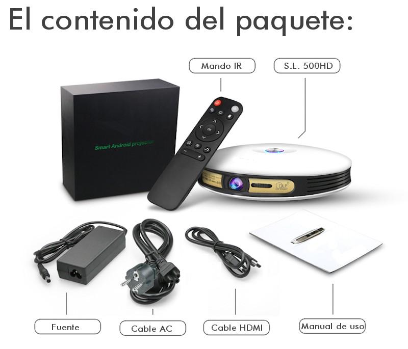 el proyector incluye: cable HDMI, manual de usuario, cable de corriente, mando a distancia