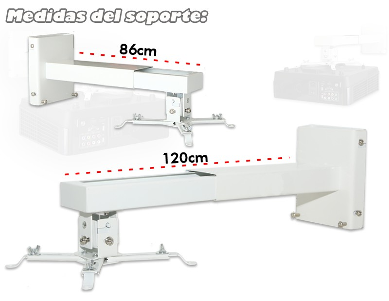 las medidas del soporte de pared para proyector son 42cm hasta 60cm
