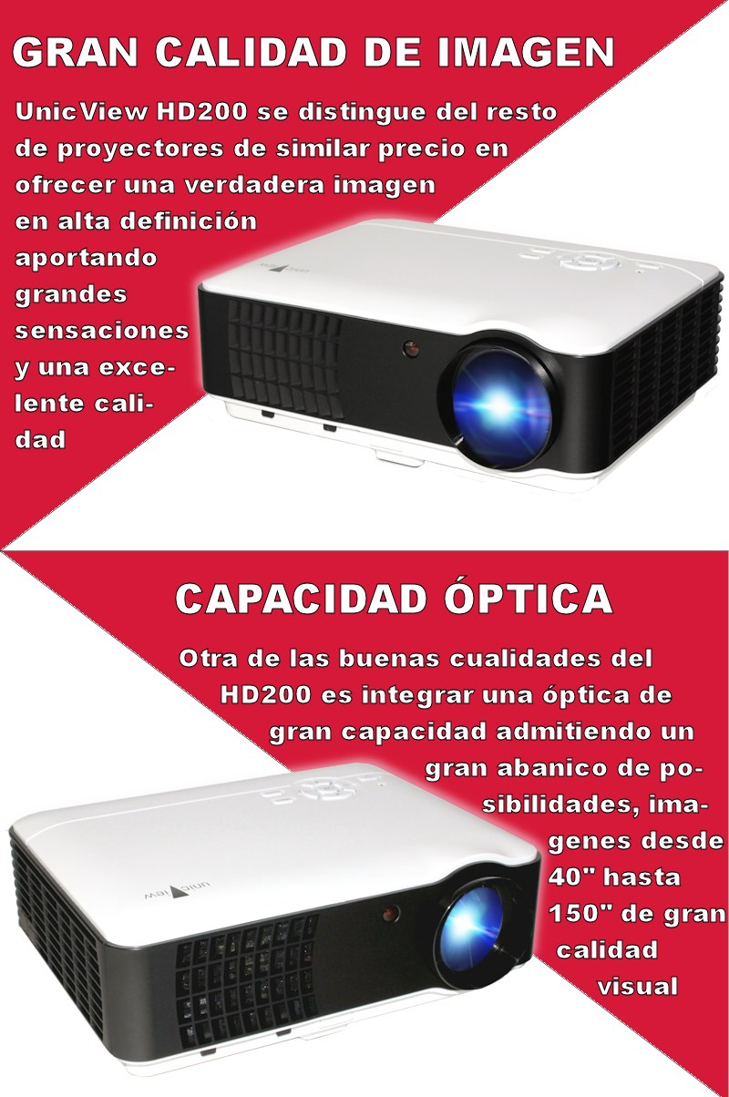 Unicview hd200 con tdt hd proyectores de led proyector for Proyectores de led para exteriores