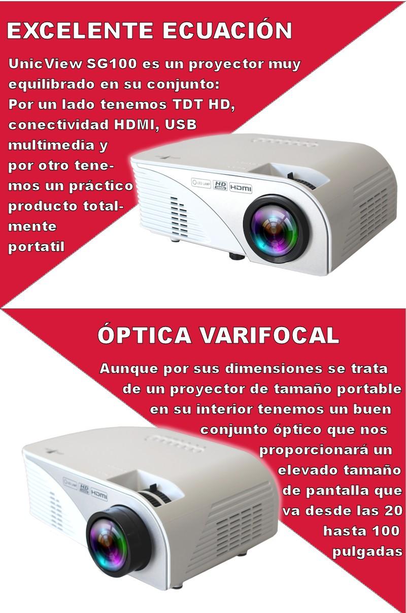el unicview sg100 es un proyector portatil para diversos uso: proyector para ps4, proyector para xbox one, proyector para pc