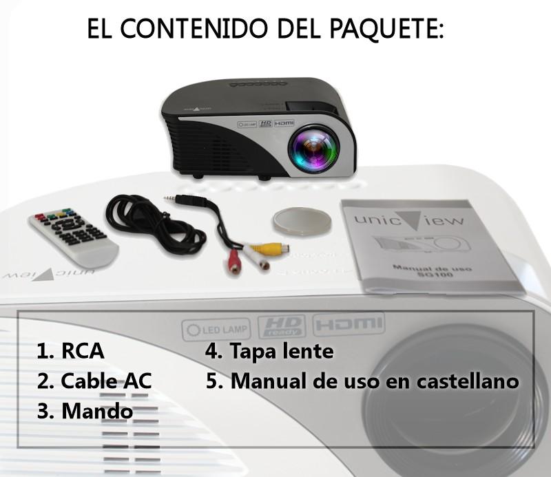 el paquete incluye: proyector unicview sg100, cableado de video, cableado de corriente, mando a distancia, protector de la lente y manual de usuario en castellano