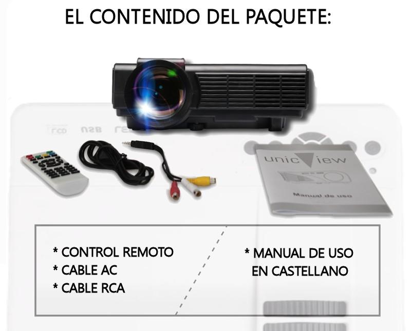 el paquete incluye: proyector unicview sg150, cableado de video, cableado de corriente, mando a distancia y manual de usuario en castellano
