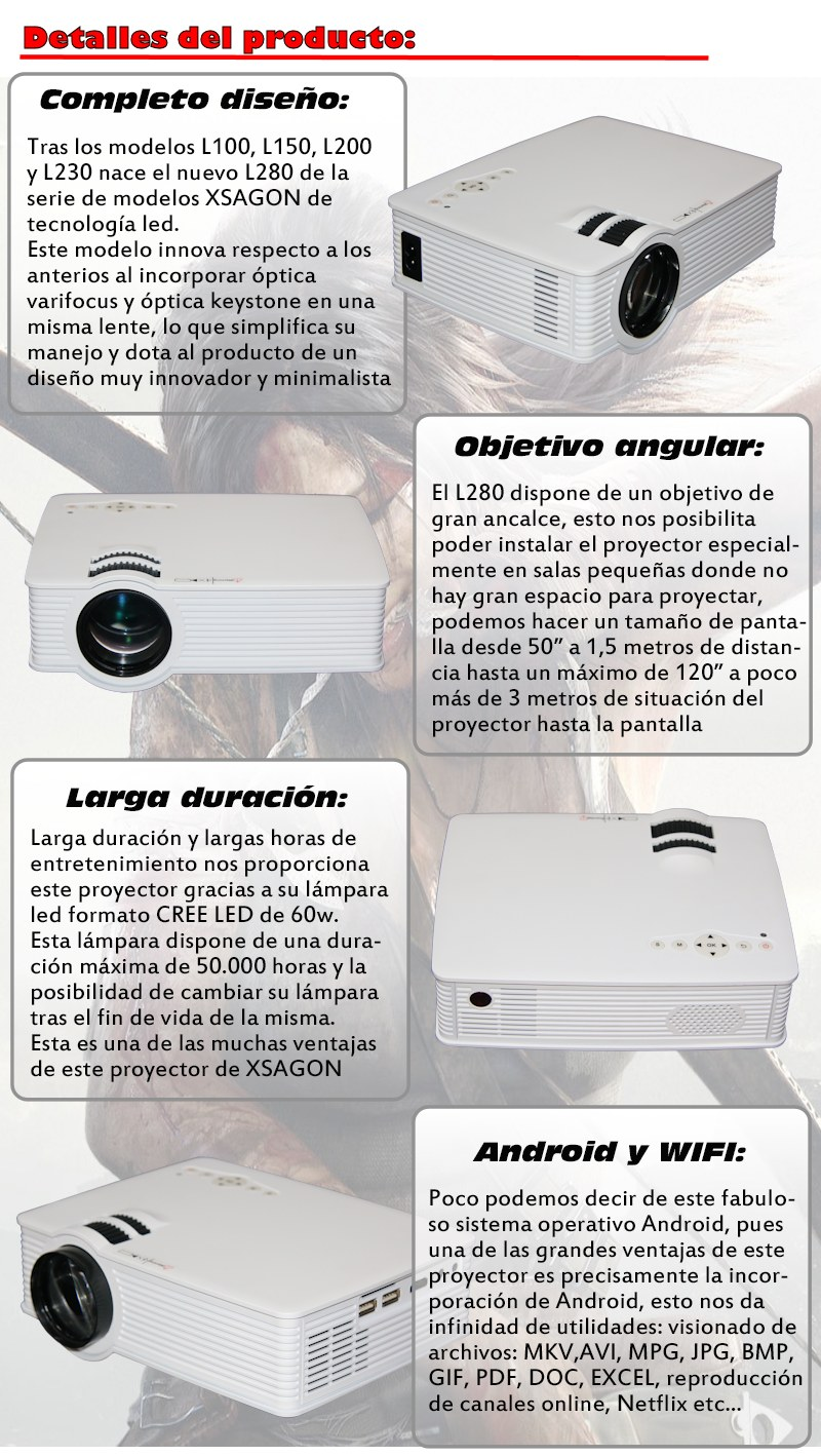 tras los modelos l100, l150, l200 y l230 de xsagon nace el nuevo l280, este modelo incorpora