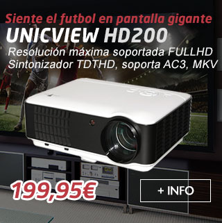 proyector unicview hd200 con tv tdt, ac3, mkv