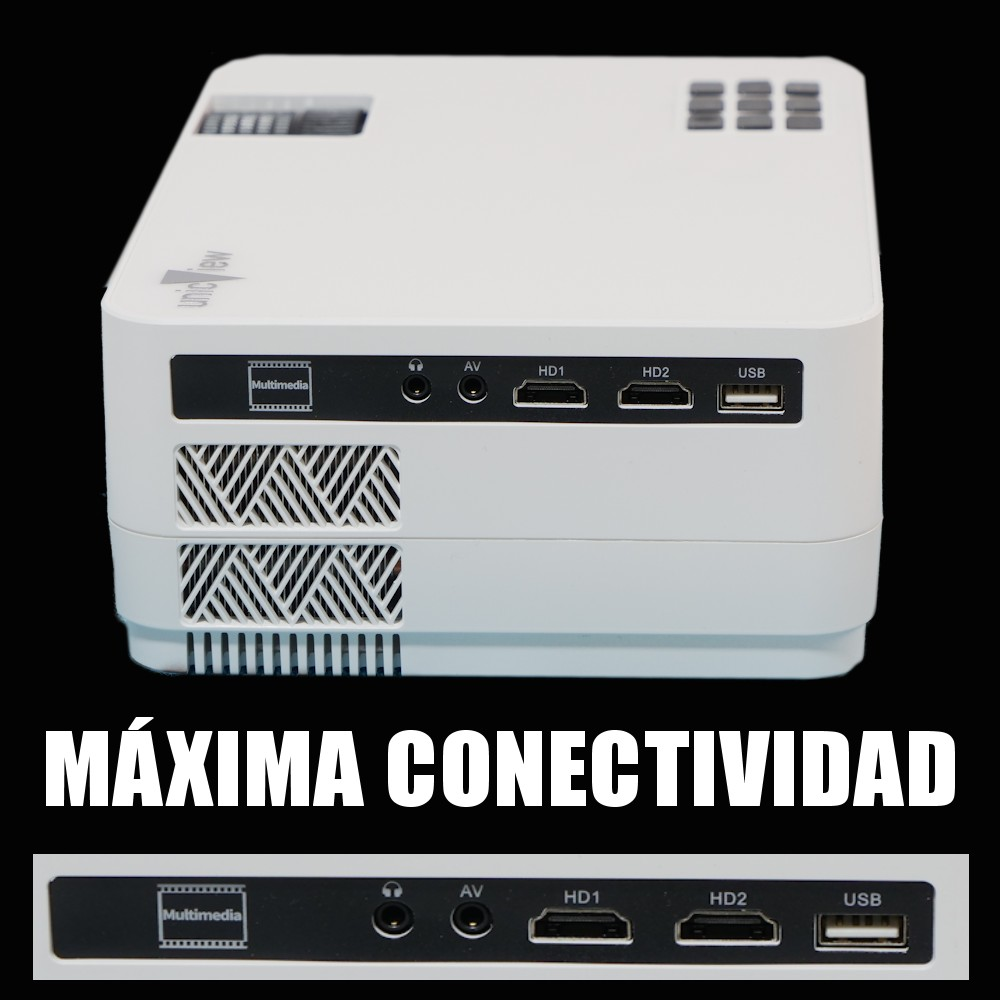 maxima conectividad hdmi 1 hdmi 2 usb multimedia mkv ac3 dolby digital vga mini jack bluetooth wifi