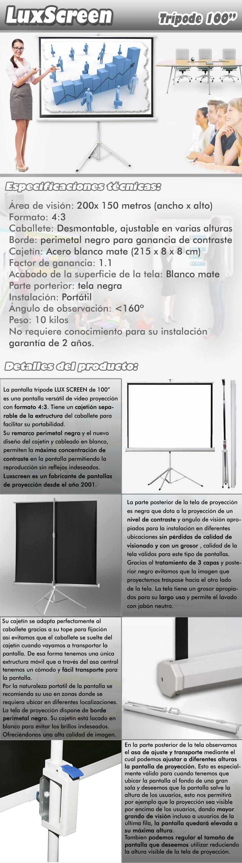 pantalla de tripode 100 pulgadas con unas dimensiones de area activa de 2 metros de ancho por 1,5 metros de alto, se trata de una pantalla con caballete y asa de facil y comodo transporte